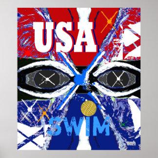 Cool New 2013 USA Swimming Sports Art Big Poster