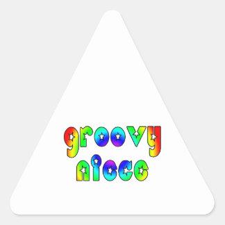 Cool Nieces Birthdays Christmas Groovy Niece Triangle Sticker