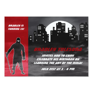 Cool Ninja in the City Birthday Invitation