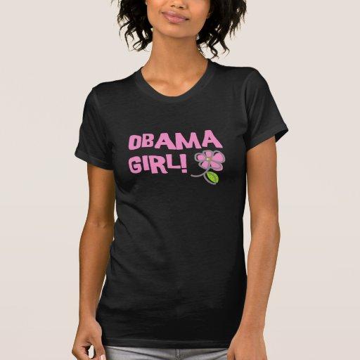 Cool Obama Girl Pink Flower T-Shirt