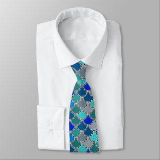 Cool Ocean Colors Mermaid Scales Pattern Tie