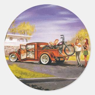 Cool Old P/U Truck Round Sticker