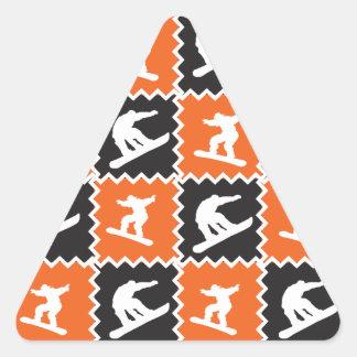 Cool Orange and Black Snowboarding Pattern Triangle Sticker