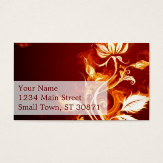 Cool Orange and Yellow Fire Flower Fire Rose Business Card