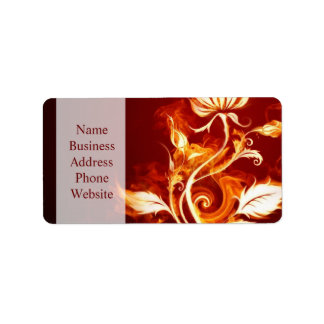 Cool Orange and Yellow Fire Flower Fire Rose Label
