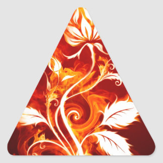 Cool Orange and Yellow Fire Flower Fire Rose Triangle Sticker
