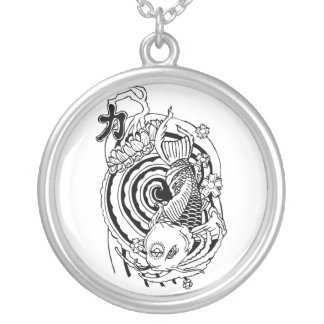Cool Oriental Black White Koi Fish tattoo Silver Plated Necklace