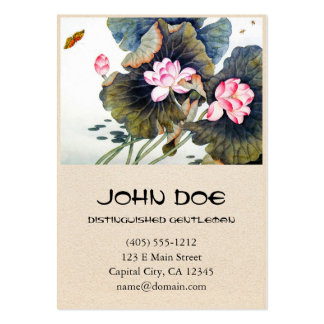 Cool oriental chinese beautiful lotus leaf butterf pack of chubby business cards