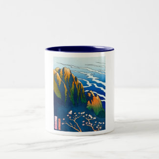 Cool oriental clasic traditional mountain pass art Two-Tone mug