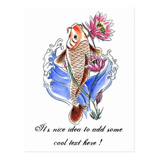 Cool oriental classic koi carp fish lotus tattoo zazzle for Cool koi fish