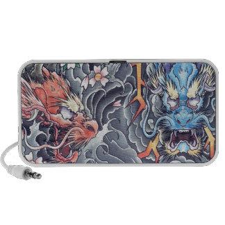 Cool Oriental Dragons tattoo  doodle speaker