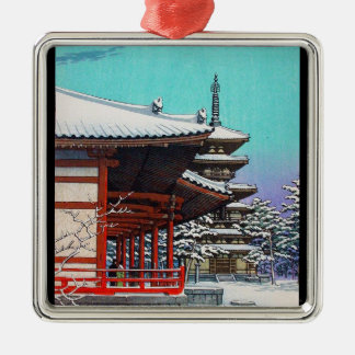 Cool oriental Hasui Kawase japanese winter village Metal Ornament