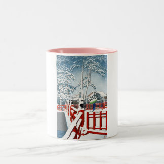 Cool oriental Hasui Kawase winter scenery art Two-Tone Mug