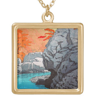 Cool oriental Hasui Rock waterfall japanese art Square Pendant Necklace
