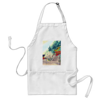 Cool oriental japanese ancient forest shrine art standard apron