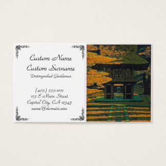 Cool oriental japanese autumn forest shrine gate business card