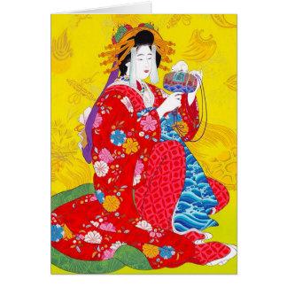 Cool oriental japanese classic geisha lady art card