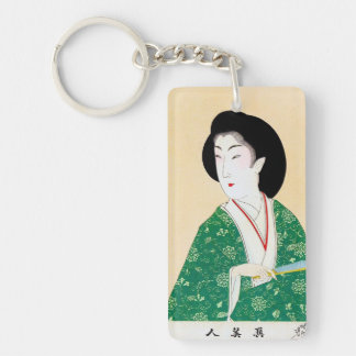 Cool oriental japanese classic geisha lady art key ring