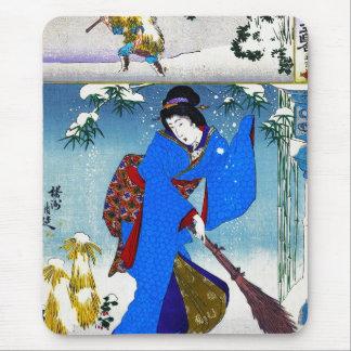 Cool oriental japanese classic geisha lady art mouse pad