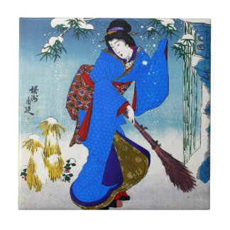 Cool oriental japanese classic geisha lady art small square tile