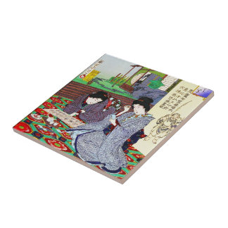 Cool oriental japanese classic geisha lady garden small square tile