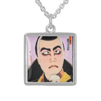 Cool oriental japanese classic kabuki painting square pendant necklace