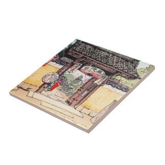 Cool oriental japanese classic Little Templa Gate Ceramic Tile