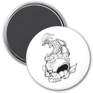 Cool Oriental Japanese Dead Koi Fish Carp Skull 7.5 Cm Round Magnet