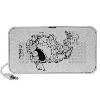 Cool Oriental Japanese Dead Koi Fish Carp Skull Mini Speaker