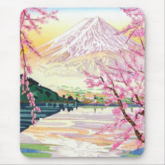 Cool oriental japanese Fuji spring cherry tree art Mouse Pad