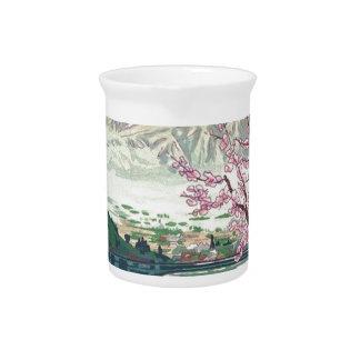 Cool Oriental Japanese Fuji Spring Cherry Tree Art Pitcher