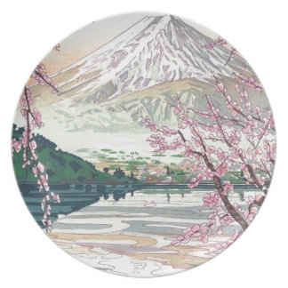 Cool Oriental Japanese Fuji Spring Cherry Tree Art Plate