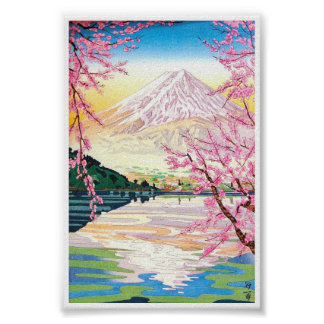 Cool oriental japanese Fuji spring cherry tree art Poster