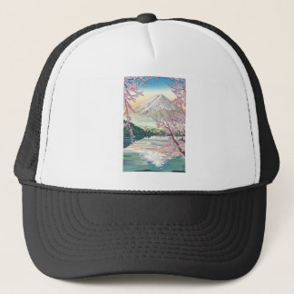 Cool Oriental Japanese Fuji Spring Cherry Tree Art Trucker Hat