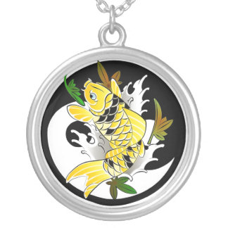 Cool Oriental Japanese Gold Koi Ying Yang tattoo Silver Plated Necklace