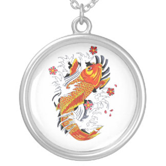 Cool Oriental Japanese Gold Lucky Koi Carp Silver Plated Necklace