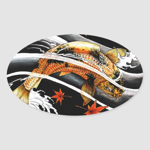 Cool oriental japanese gold lucky koi fish tattoo oval for Black and gold koi fish