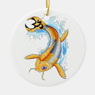 Cool Oriental Japanese Gold Lucky Koi tattoo Ceramic Ornament