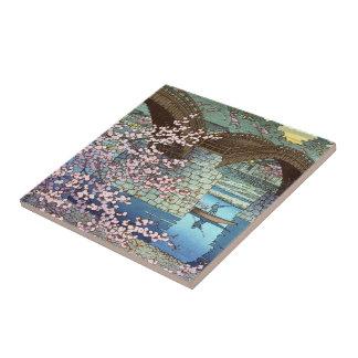 Cool oriental japanese Hasui kawase river bridge Ceramic Tile