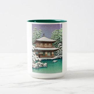 Cool oriental japanese Hasui Kawase winter scene Two-Tone Mug