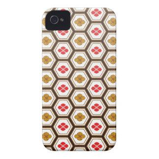 Cool oriental japanese hexagon shape flower Case-Mate iPhone 4 case