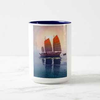 Cool oriental japanese Hiroshi Yoshida morning Two-Tone Mug