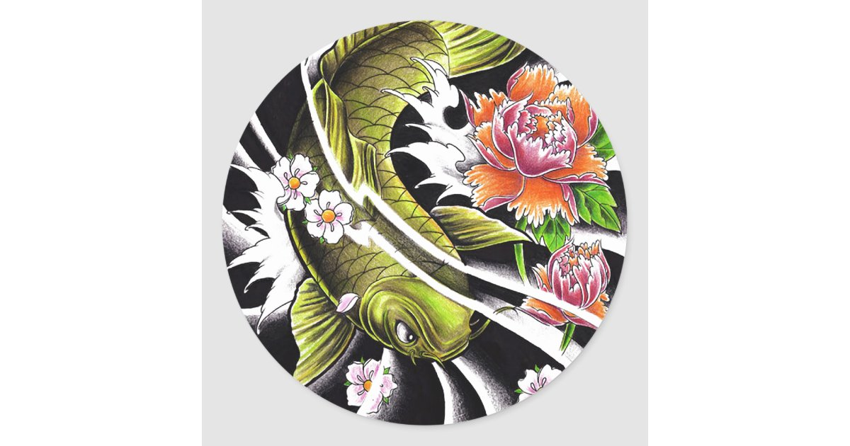 Cool oriental japanese ink lucky koi fish tattoo classic for Lucky koi fish
