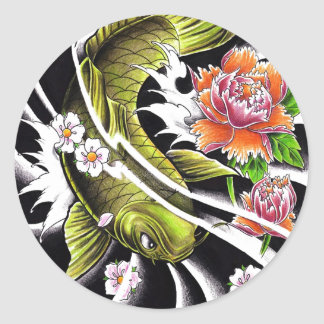 Cool oriental japanese ink lucky koi fish tattoo round sticker