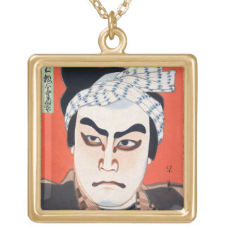Cool oriental  japanese kabuki actor painting art square pendant necklace
