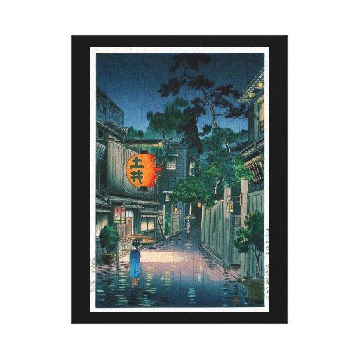 Cool oriental japanese Kasamatsu night street rain Gallery Wrapped Canvas