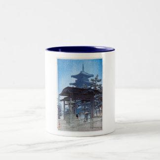 Cool oriental japanese Kawase Shrine entrance art Two-Tone Mug