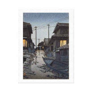 Cool oriental japanese Kawase village scenery Gallery Wrapped Canvas