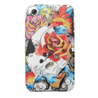 Cool Oriental Japanese Koi Carp Fish Rose iPhone 3 Covers