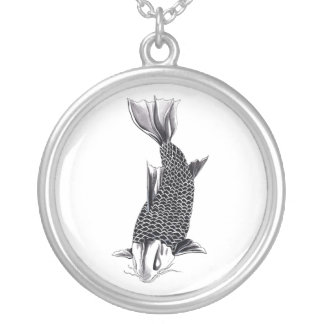 Cool Oriental Japanese Koi Carp Fish Watercolor Silver Plated Necklace